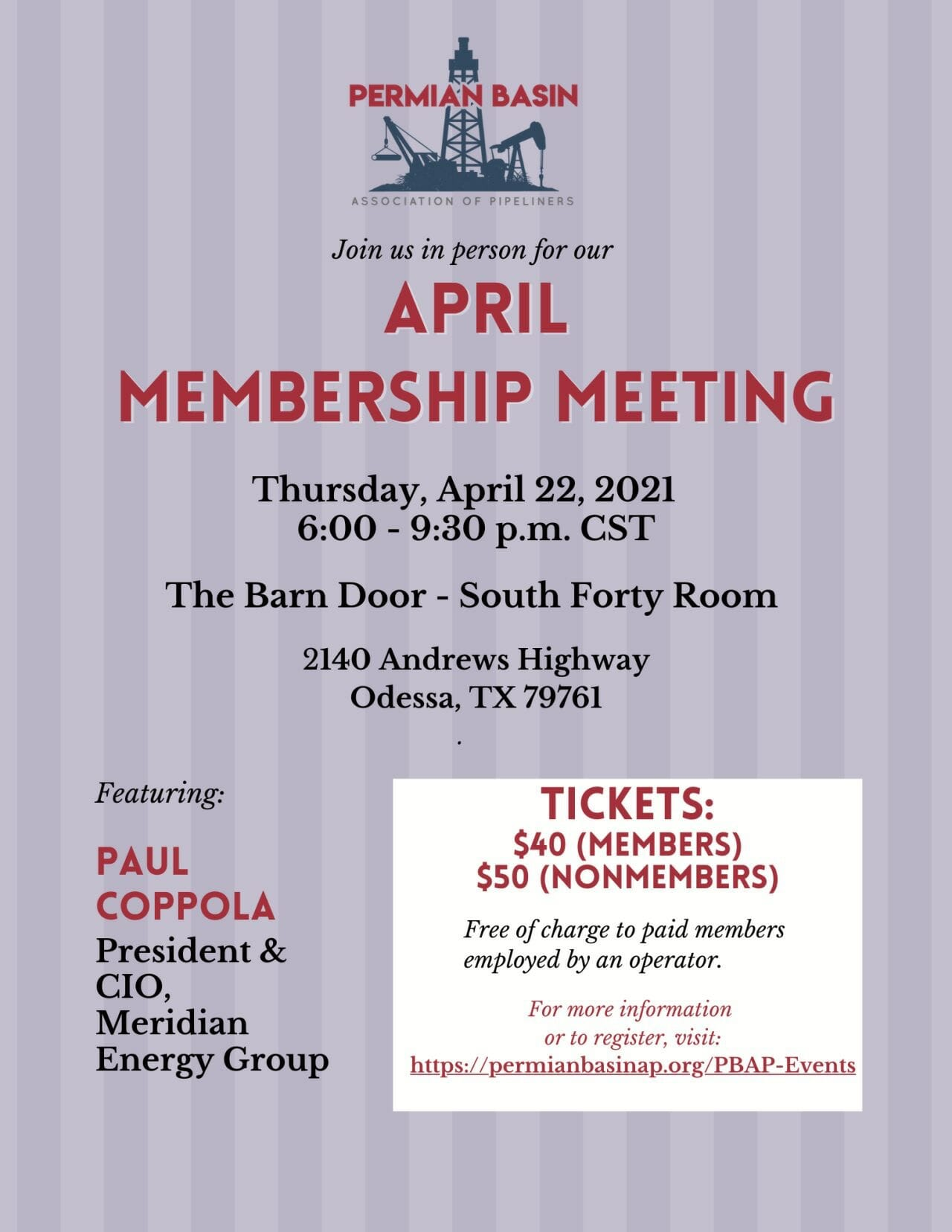 Permian Basin Pipeliners Association Monthly Meeting