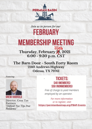 February Membership Meeting  2/25(Changed Date)